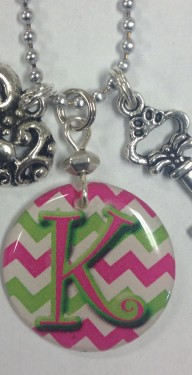 chevron initial with bead chain close up