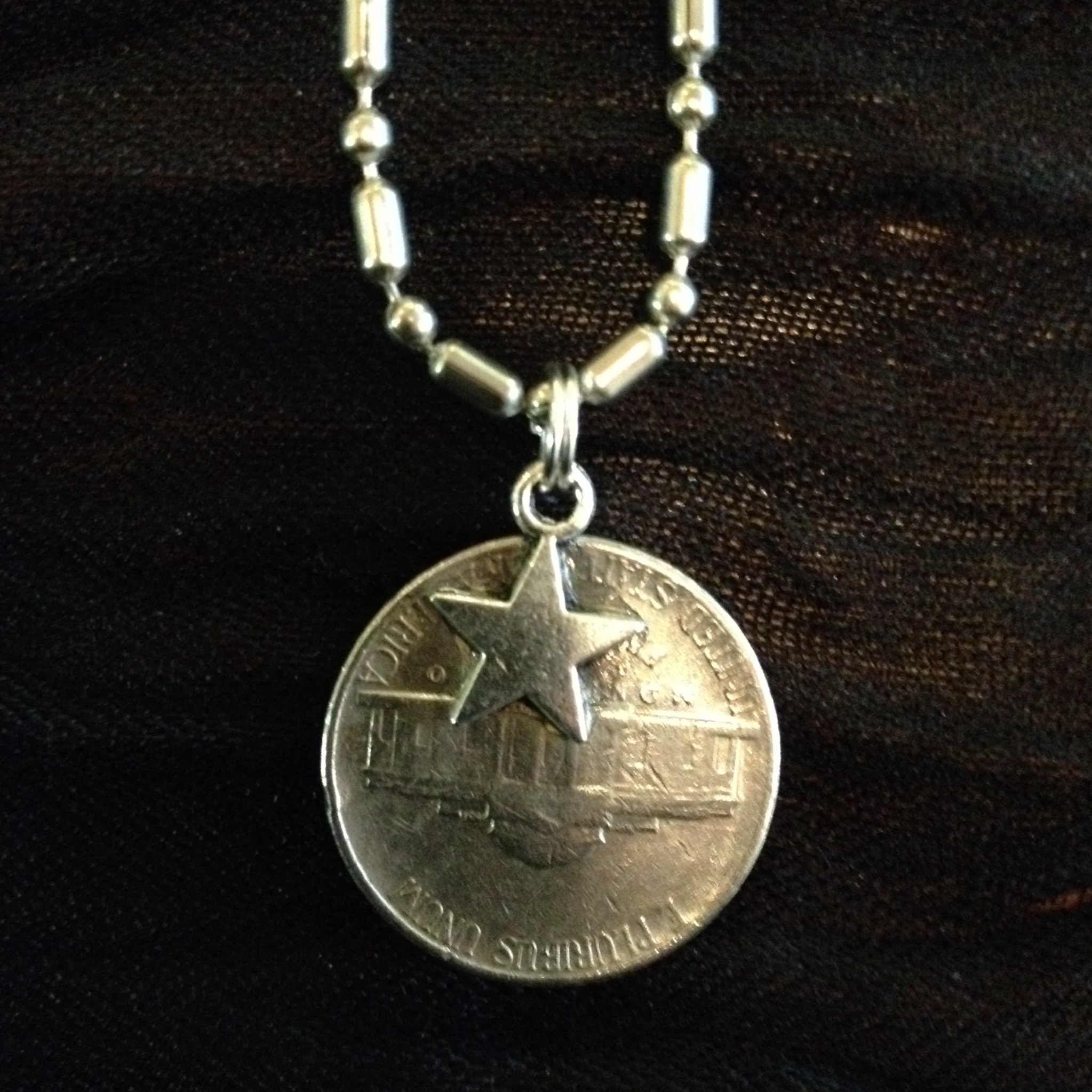 Palmetto Moon Pendant On A Coin On 18 Inch Bead And Ball
