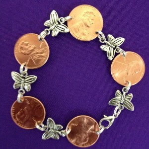 penny bracelet with butterfly, all