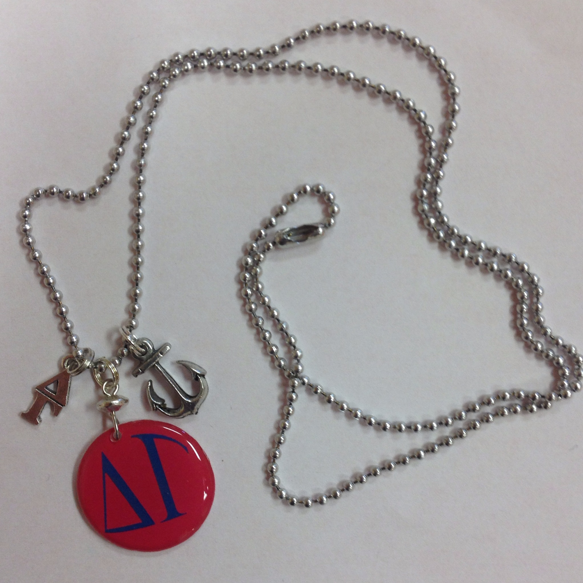 8c4b56eee5e5b Delta Gamma Sorority Greek Charm Necklace - lavaliere, anchor mascot charm,  & handpoured pendant cluster on a 24 inch bead chain