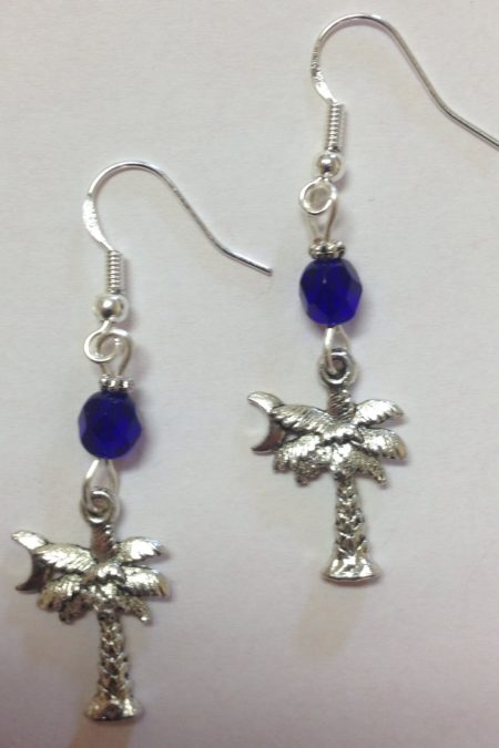 palmetto moon earrings with cobalt blue accent beads all