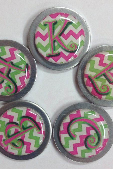 refrigerator magnets - 5 chevron pink green initials