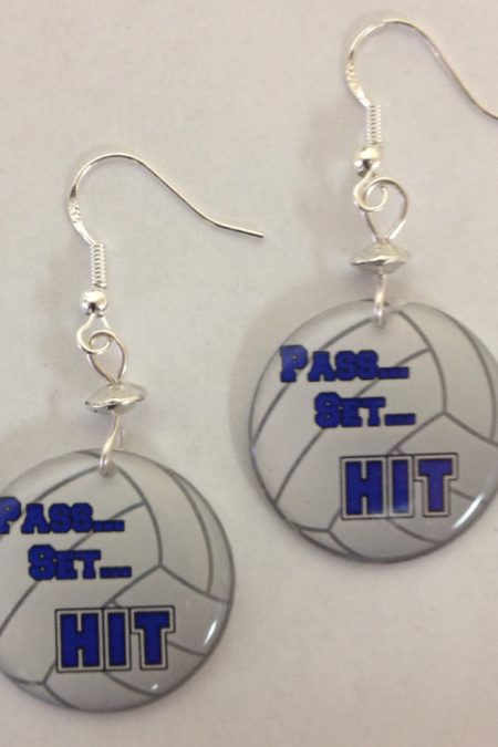 volleyball earrings - pass set hit