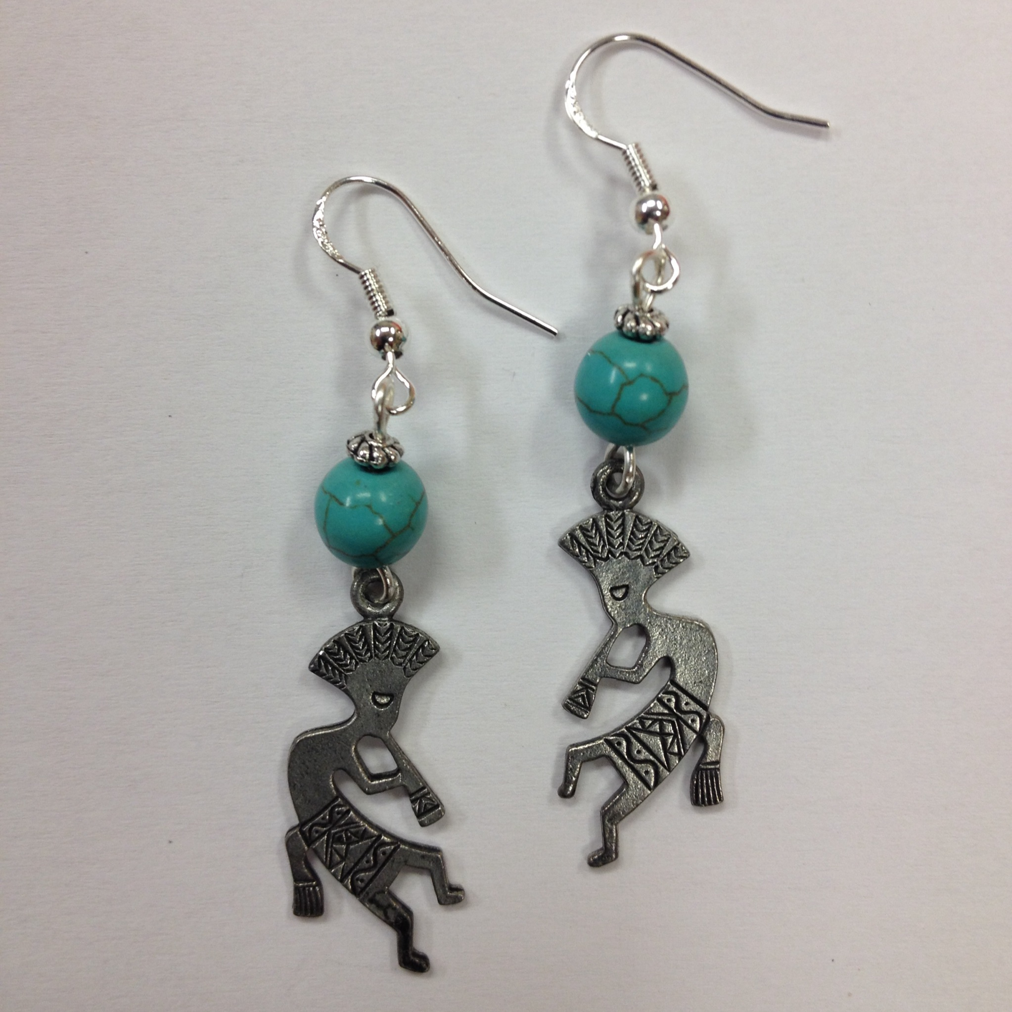 Kokopelli southwestern style earrings on sterling silver for Southwestern silver turquoise jewelry