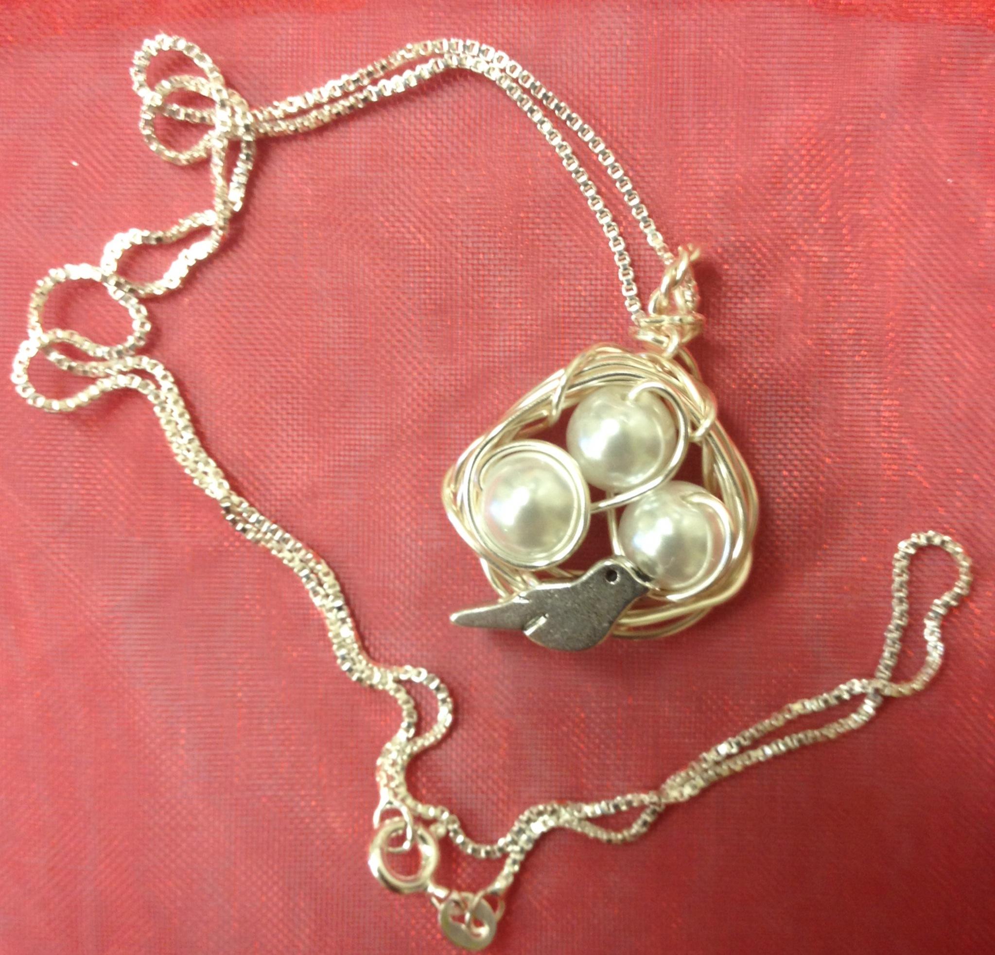 Birds nest pendant on an 18 inch sterling silver box chain great birds nest pendant aloadofball Choice Image