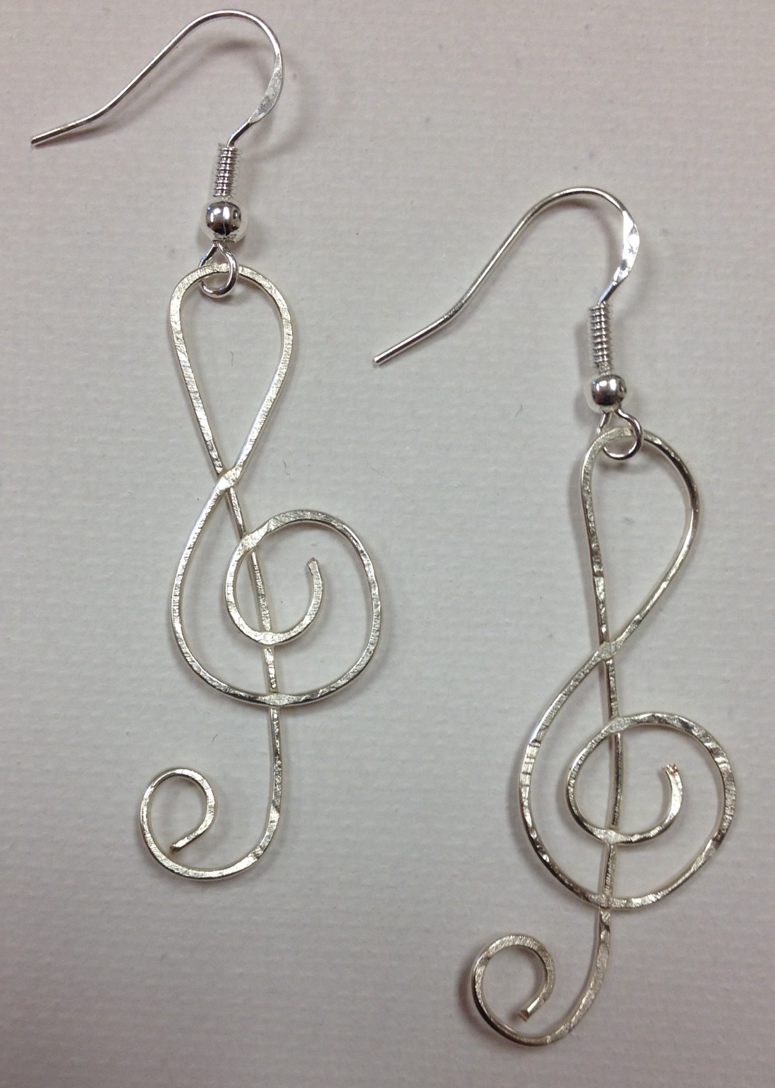 Music Treble Clef Earrings On Sterling Silver Earwires