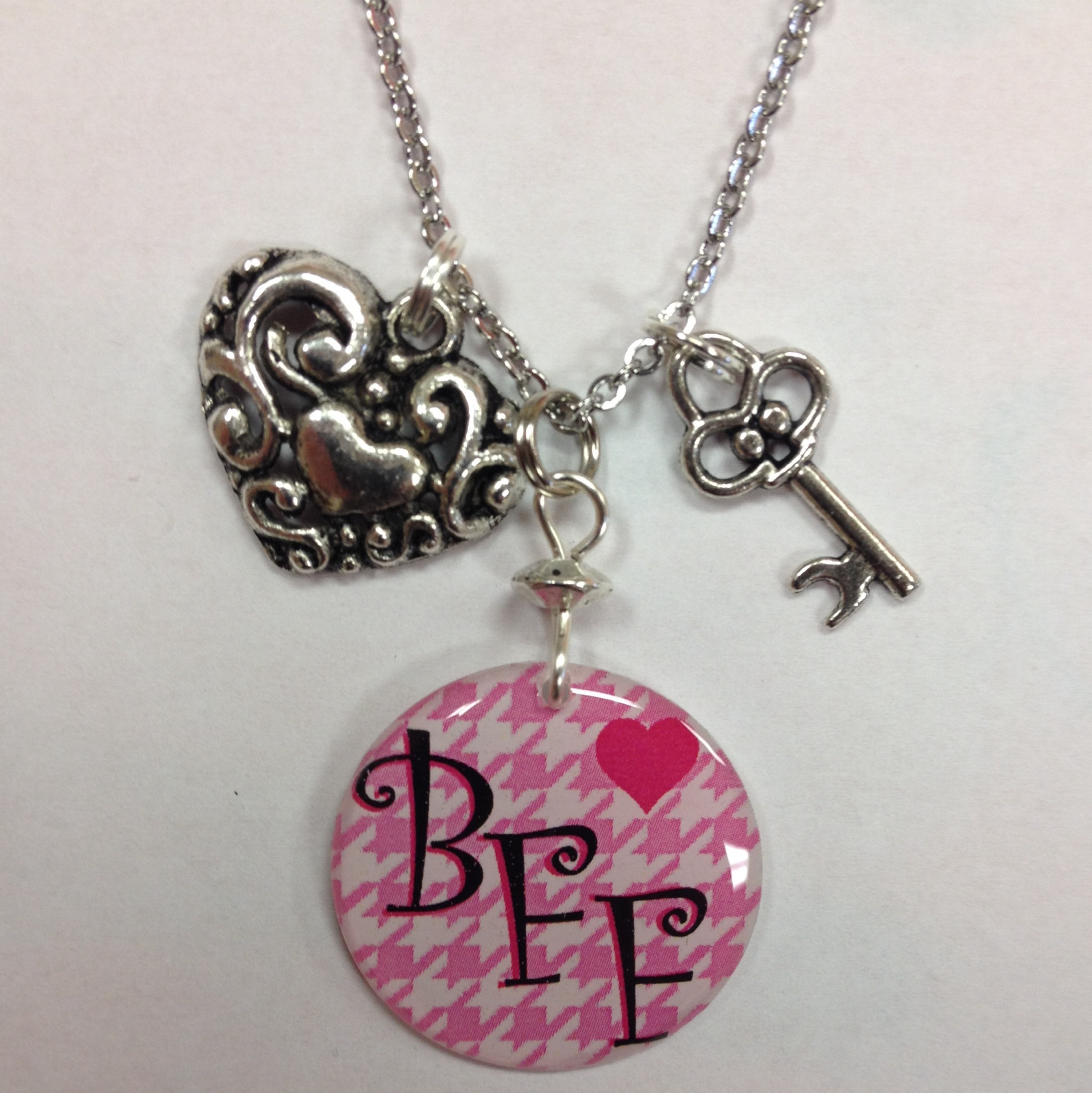 Lovely Set of 2 Best Friends Forever, BFF or Besties Charm Necklace with  GI59
