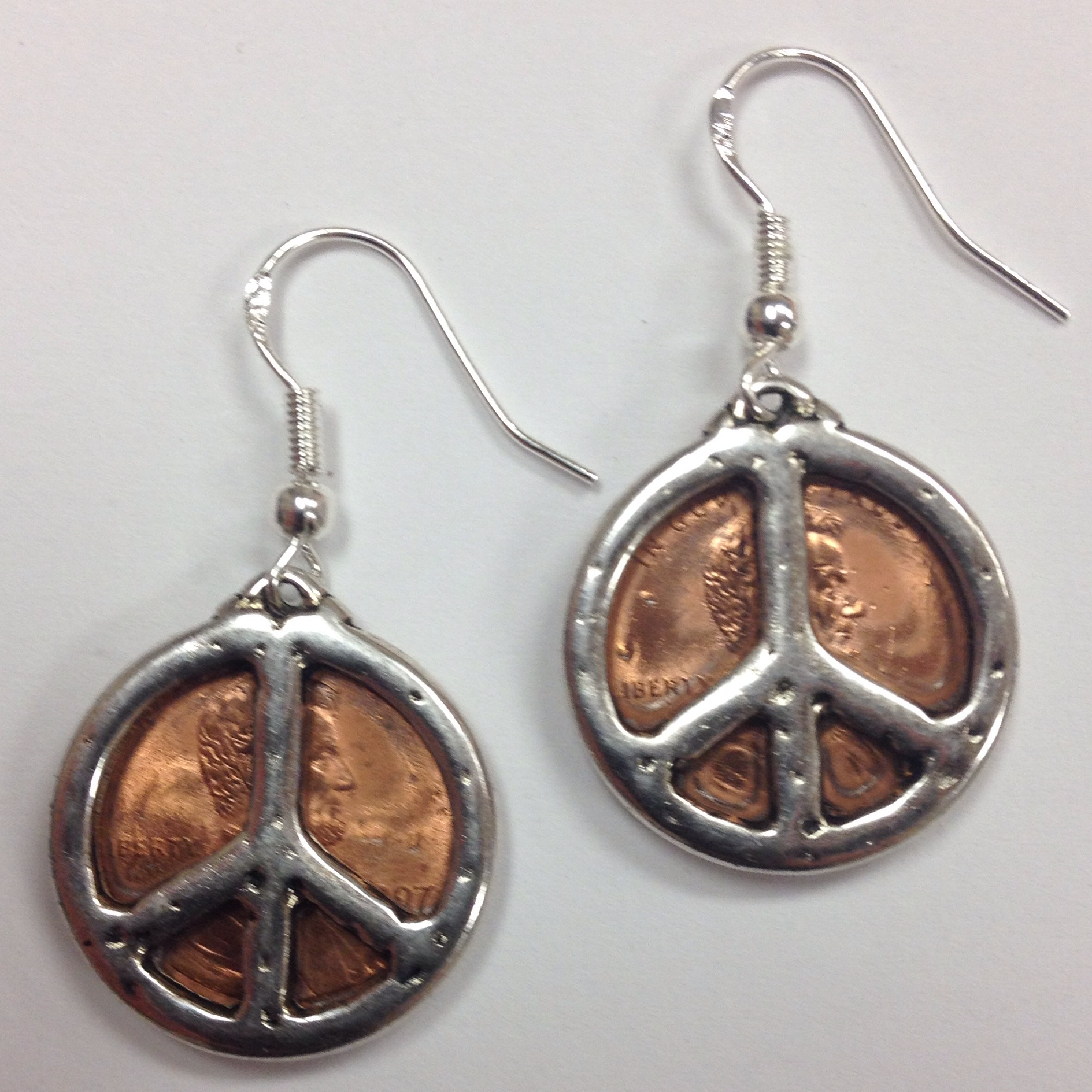 Lucky Penny Earrings With Peace