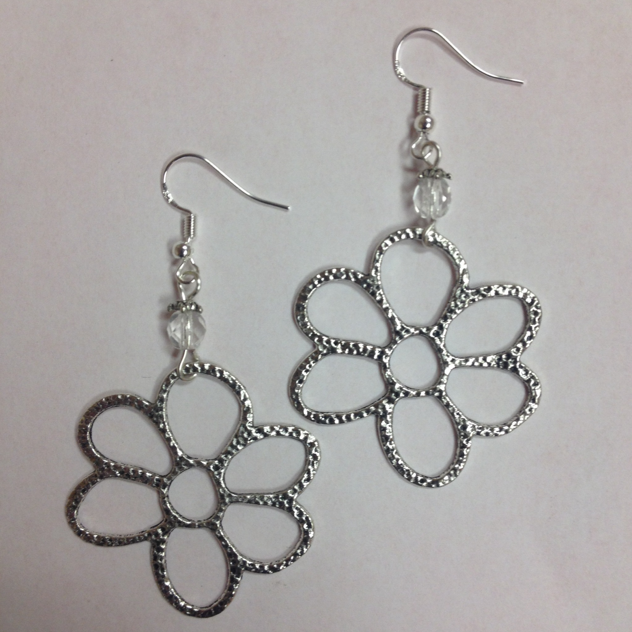 Daisy Or Flower Earrings With Faceted Clear Crystal Accent Beads On Sterling Silver Earwires